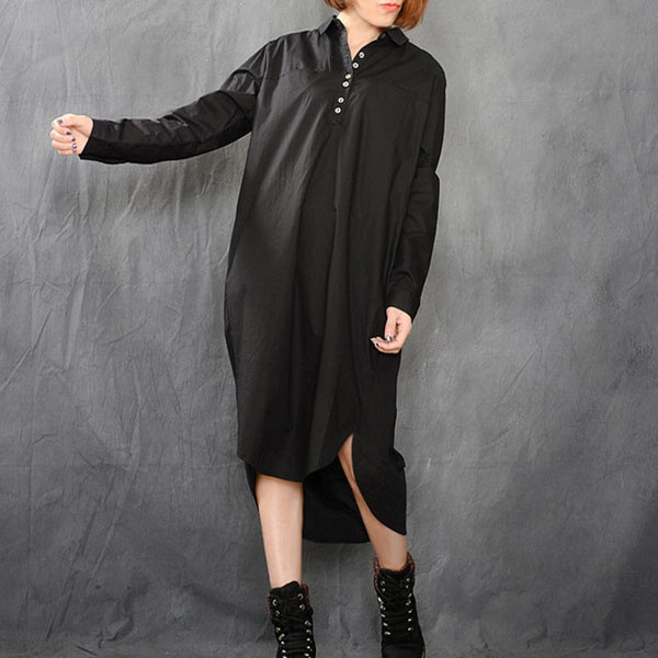 Loose Irregular Hem Black Shirt