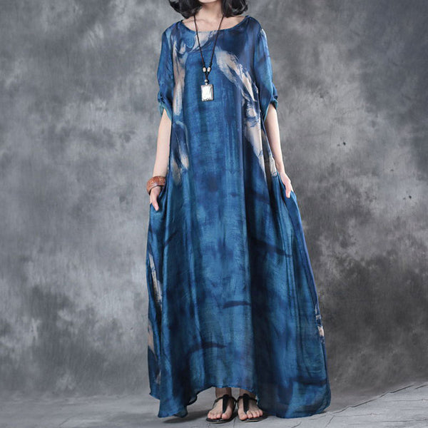 Retro Three Quarter Sleeve Printed Blue Long Dress