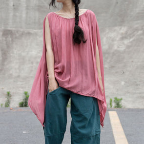 Round Neck Sleeveless Irregular Loose Blouse