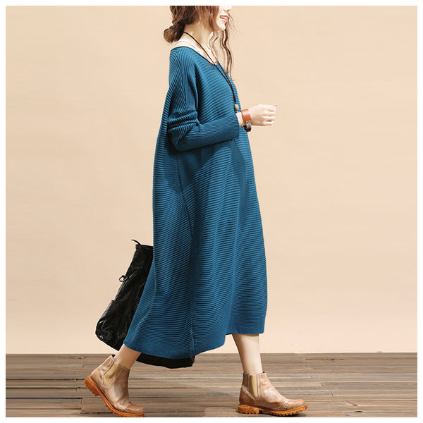 Women plus size loose fitting winter knitting sweater dress - Buykud- 1
