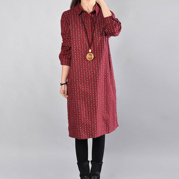 Casual Printing Cotton Dark Red Dress - Buykud