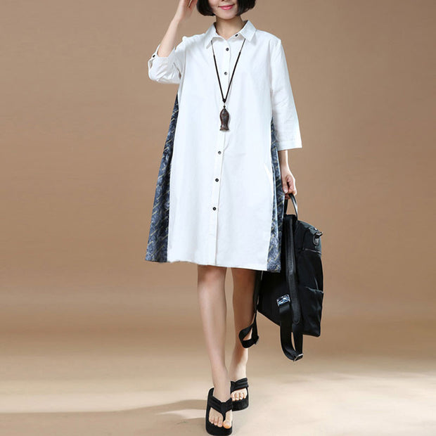 Loose Women Casual Cotton White Shirt Dress - Buykud