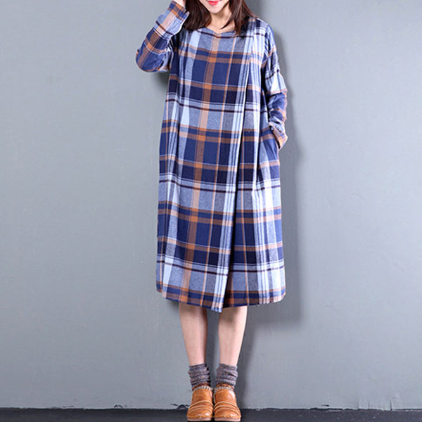 Spring Loose Long Sleeves Light Blue Lattice Dress