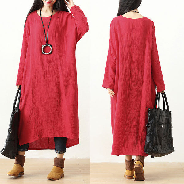 Red Casual Long Sleeve Irregular Pockets Pleated Side Silt Dress - Buykud
