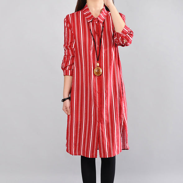 Loose Straight Cotton Casual Women Red Shirt Dress - Buykud