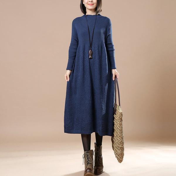 Blue Big Swing Long Sleeved Sweater Autumn