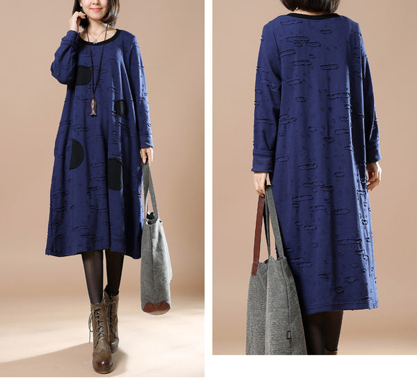 Women casual loose spring and winter long sleeve dress