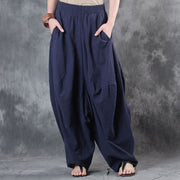 Women Cotton Loose Linen Blue Harem Pants - Buykud