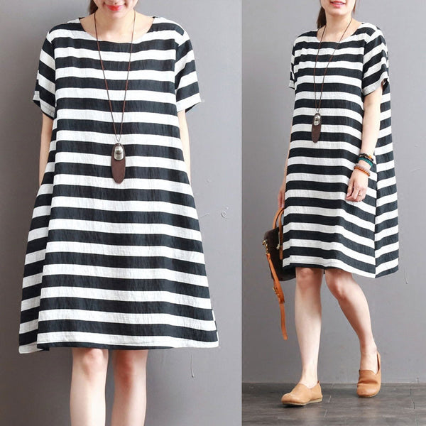 Stripe Women Loose Summer Casual Cotton Short Sleeves Dress