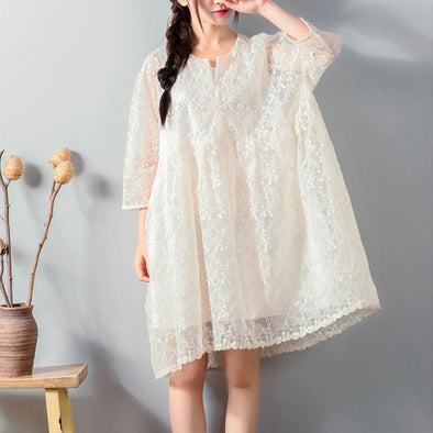 Graceful Lace Hollow Three Quarter Sleeves White Dress - Buykud