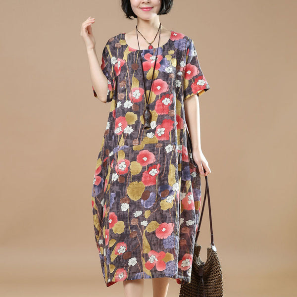 Summer Women Printing Loose Cotton Linen Casual Coffee Dress