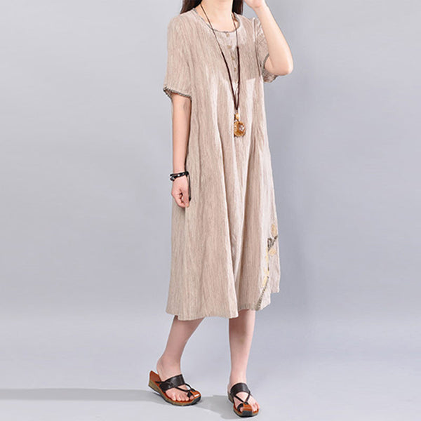 Linen Casual Short Sleeve Round Neck Women Summer Beige Dress - Buykud