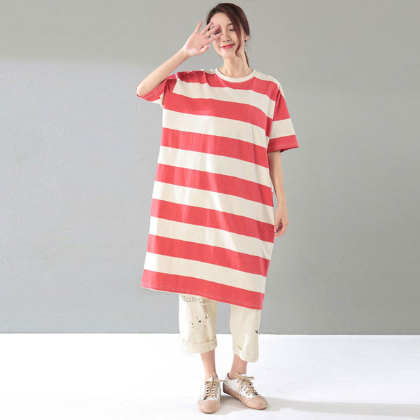 Loose Women Casual Stripe Cotton Summer Red Dress