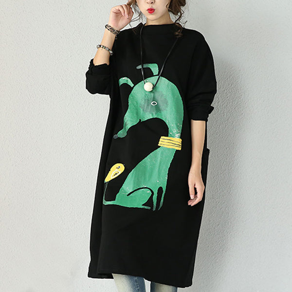 Cartoon Thicker Round Neck Dress