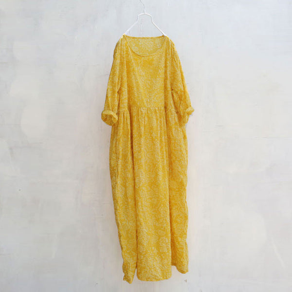 Women Retro Loose Casual Summer Cotton Printing Folded Yellow Dress