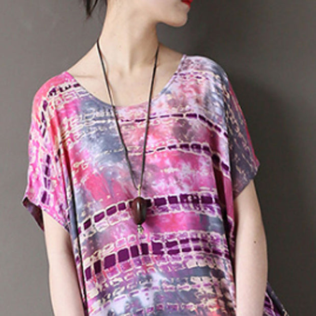 Ethnic Summer Round Neck Short Sleeve Printed Dress - Buykud