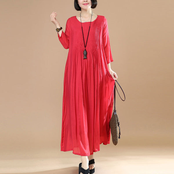Women Loose Casual Cotton Red Dress