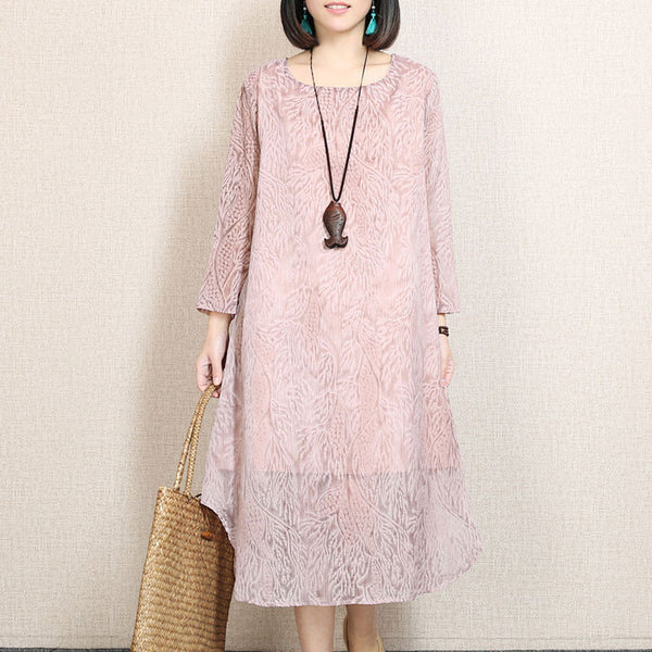 Irregular Round Neck Printing Pink Dress