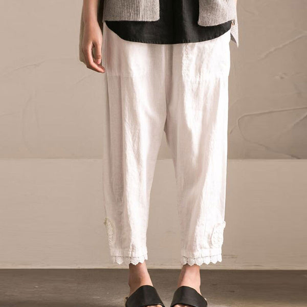 Splicing HollowLoose Casual Linen Cotton Harem White Pants - Buykud