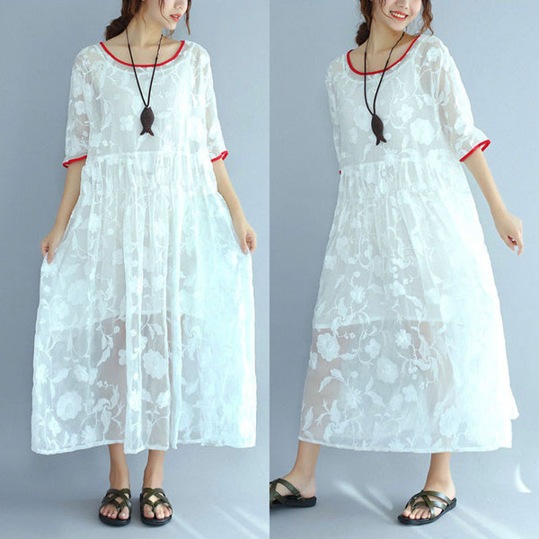 Women Vintage Casual Floral Loose Short Sleeve White Dress