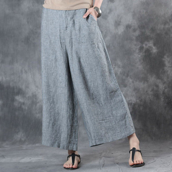 Casual Zipper Pockets Light Gray Stripe Women Wide Leg Pants - Buykud