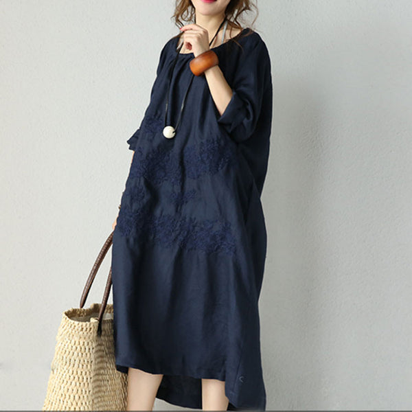 Long Sleeved Embroidered Linen Dress
