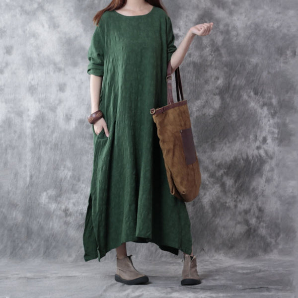 Autumn Loose Long Sleeve Linen Dress - Buykud