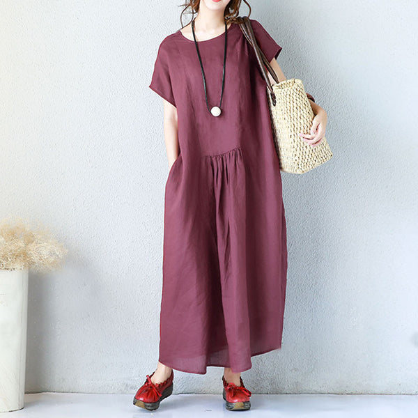 Summer Women Elegant Loose Short Sleeve Red Dress - Buykud