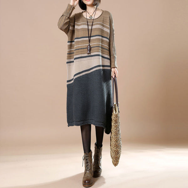 Khaki Cotton Striped Stitching Sweater