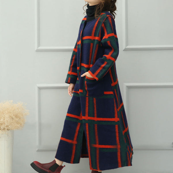 Retro Plaid Wool Coat