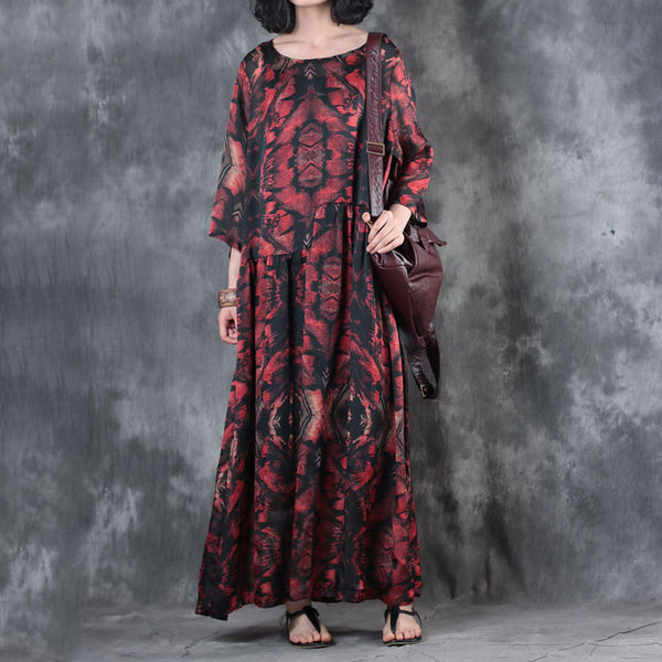 Loose Printed Three Quarter Sleeve Summer Dress - Buykud