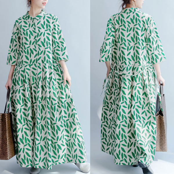 Casual Loose Short Sleeves Women Green Maxi Dress