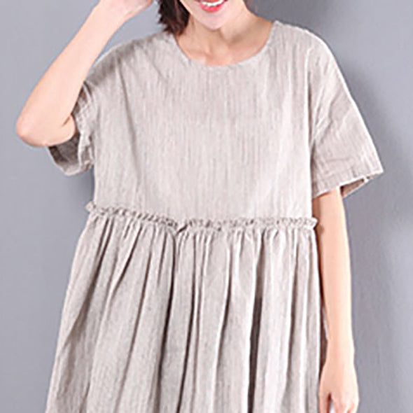 Solid Linen Splicing Short Sleeves Women Khaki Dress - Buykud