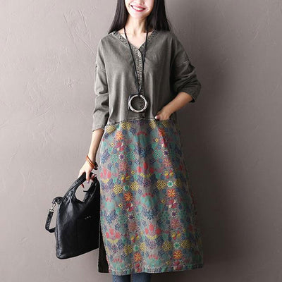 Autumn Casual V Neck Printing Loose Dress For Women - Buykud