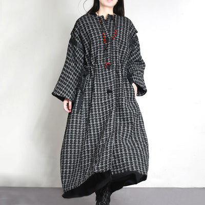 Winter Women Loose Single Breasted Long Woolen Coat - Buykud