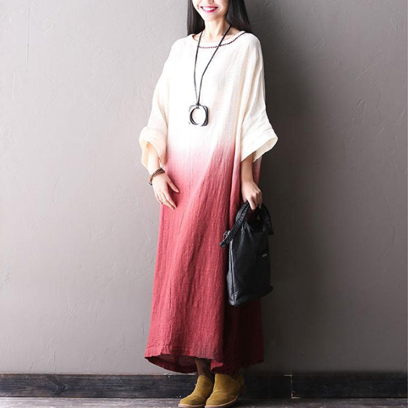 Bat Sleeve Cotton Linen Pullover Dress - Buykud