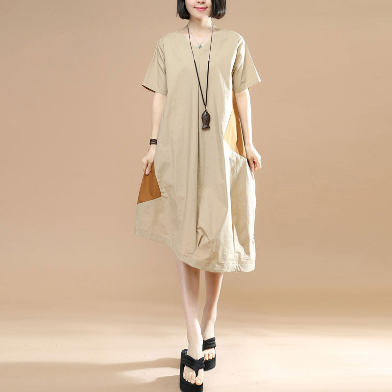 Summer Asymmetrical Contrast Color Short Sleeves Khaki Dress - Buykud