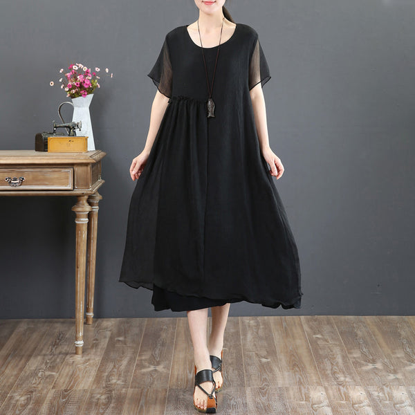 Short Sleeve Summer Retro Fake Two-piece Black Dress