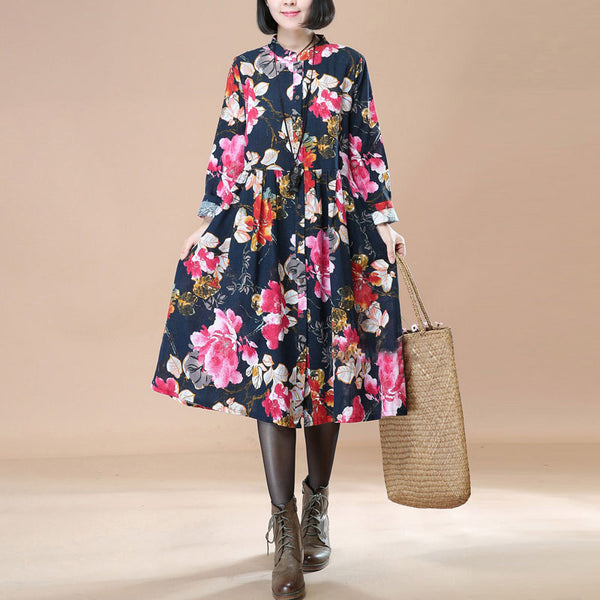 Literature Ethnic Style Floral Pleated Stand Collar Long Sleeves Navy Blue Dress