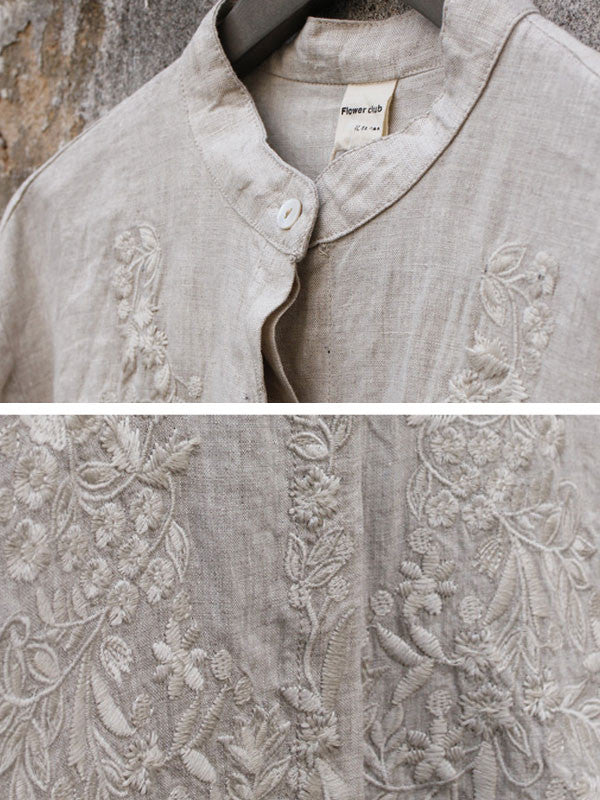 Linen Embroidered Shirt - Buykud