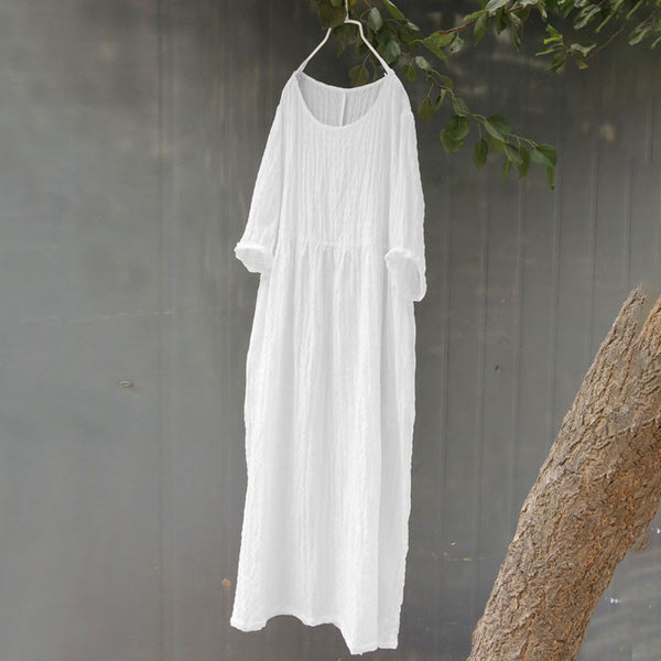 Stripe Literature Splicing Long Sleeves Pleated Women White Dress - Buykud