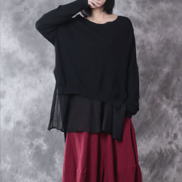 Loose Round Neck Linen Black Sweater