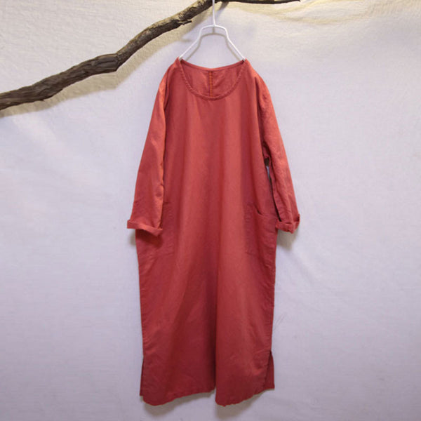 Round Neck Loose Linen Retro Orange Dress