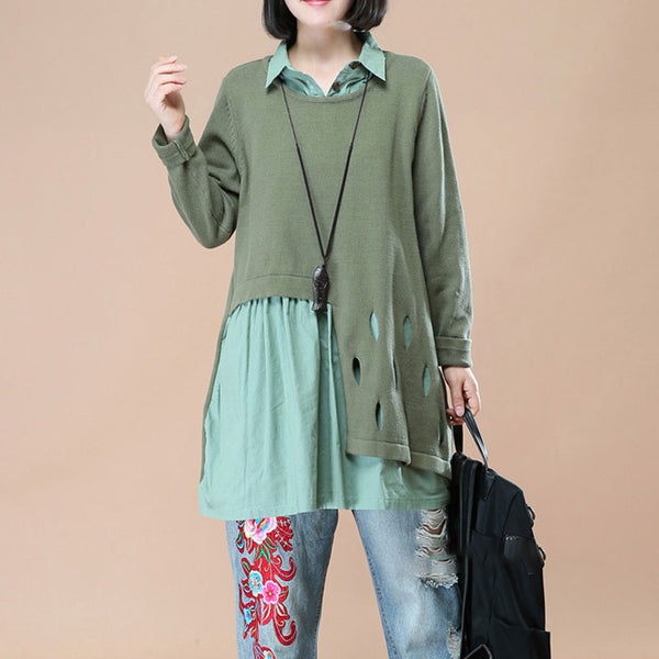 Polo Collar Long Sleeves Chic Hollowed Fake Two Piece Green Women Shirt - Buykud