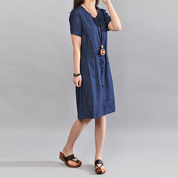 Cotton Women Loose Pocket Casual Round Neck Dress - Buykud
