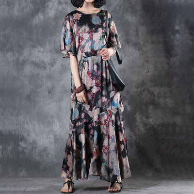 Women Summer Short Sleeve Printed Pleated Dress - Buykud