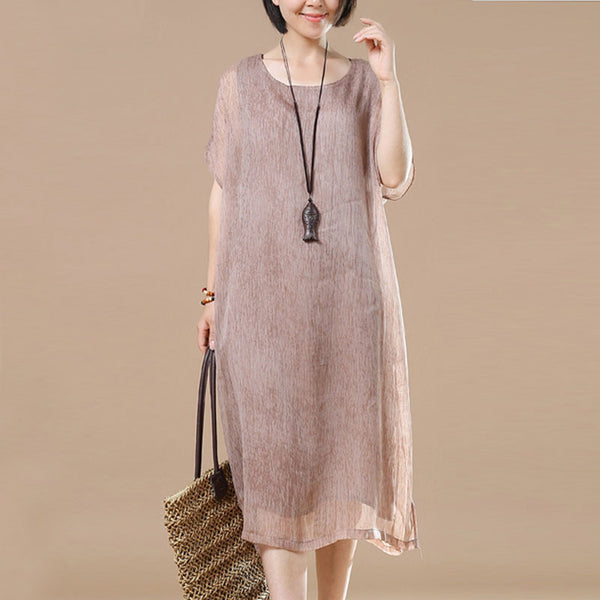 Cotton Irregular Loose Women Summer Coffee Dress - Buykud