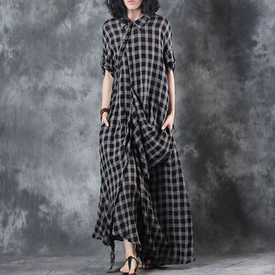 Retro Summer Women Pullover Plaid Plus Size Dress