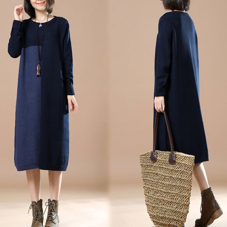 Autumn Retro Stitching Long Sleeve Round Neck Dark Blue Sweater