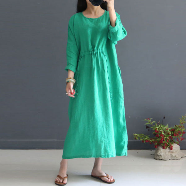 Women Linen Literature Retro Three Quarter Sleeve Green Dress